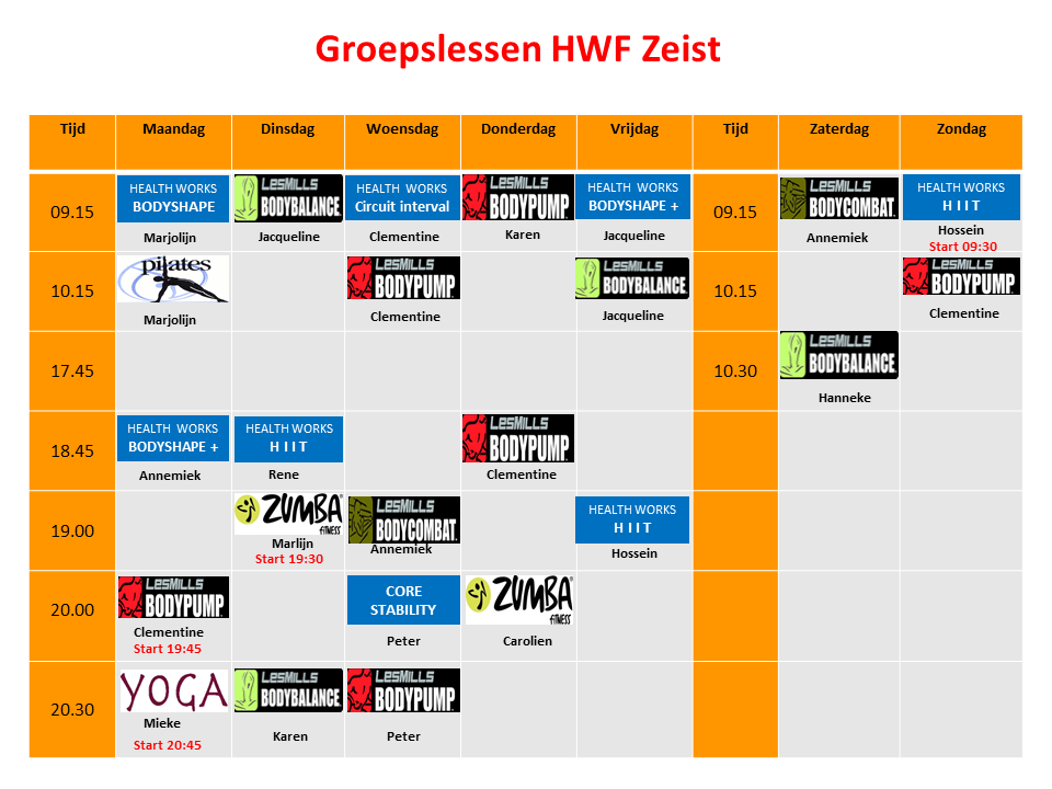 Groepslesrooster Health Works Fitness Zeist, versie dec 2018