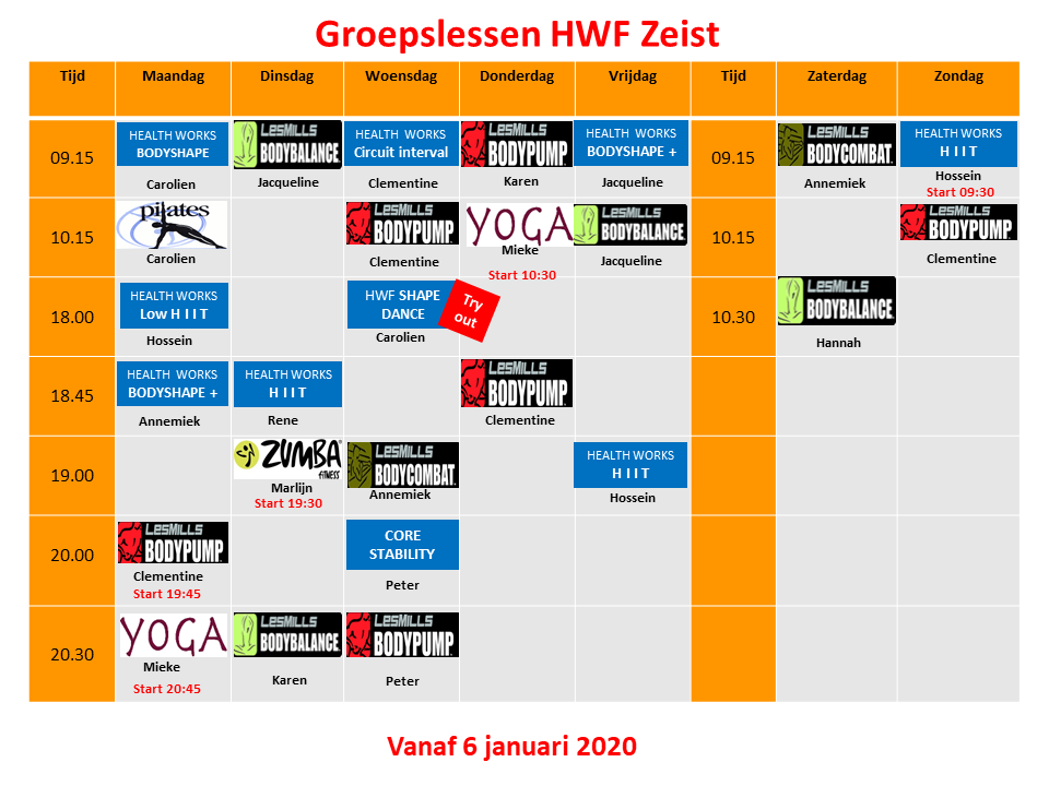 Groepslesrooster Health Works Fitness Zeist, versie 2 september 2019